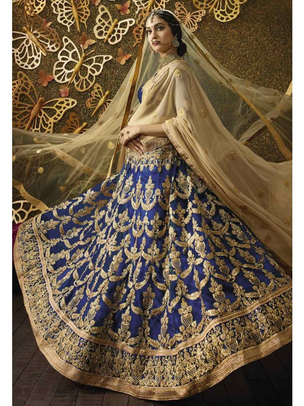 Women's Net Fabric & Navy Blue Color Pretty Unstitched Lehenga Choli