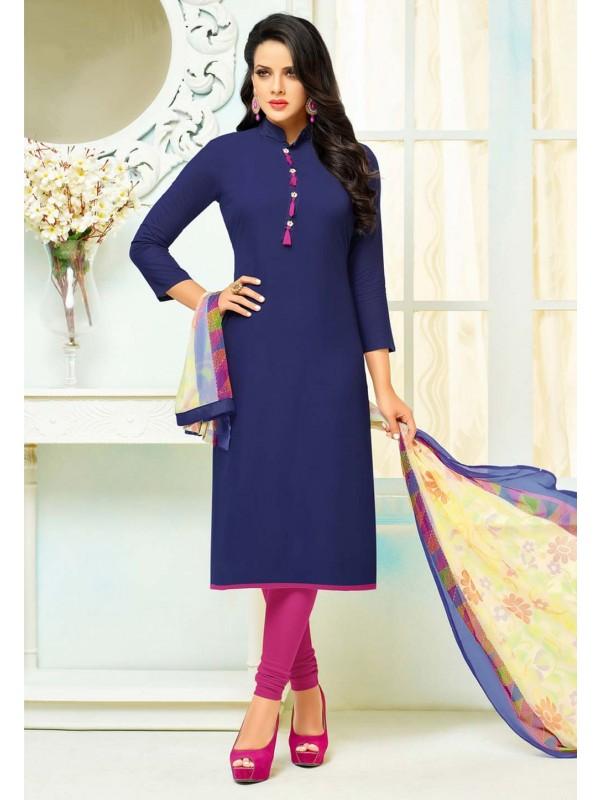 Straight Cut Style Nice Looking Salwar Kameez in Blue Color