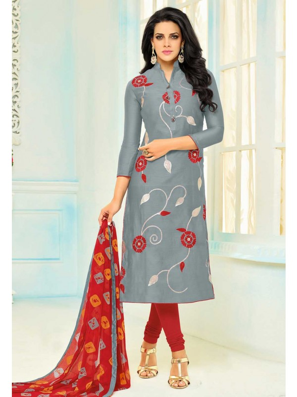 Grey Color Cotton Beautiful Salwar Kameez