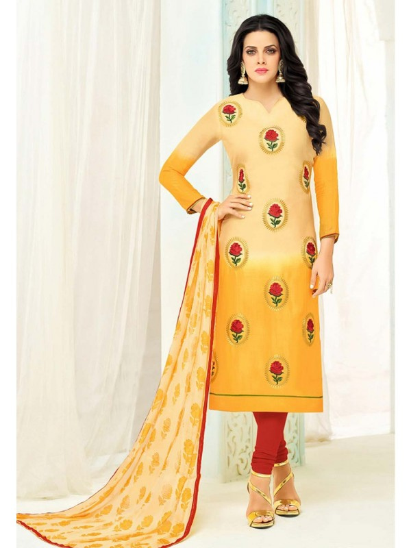 Straight Cut Style Salwar Kameez in Yellow Color & Cotton Fabric