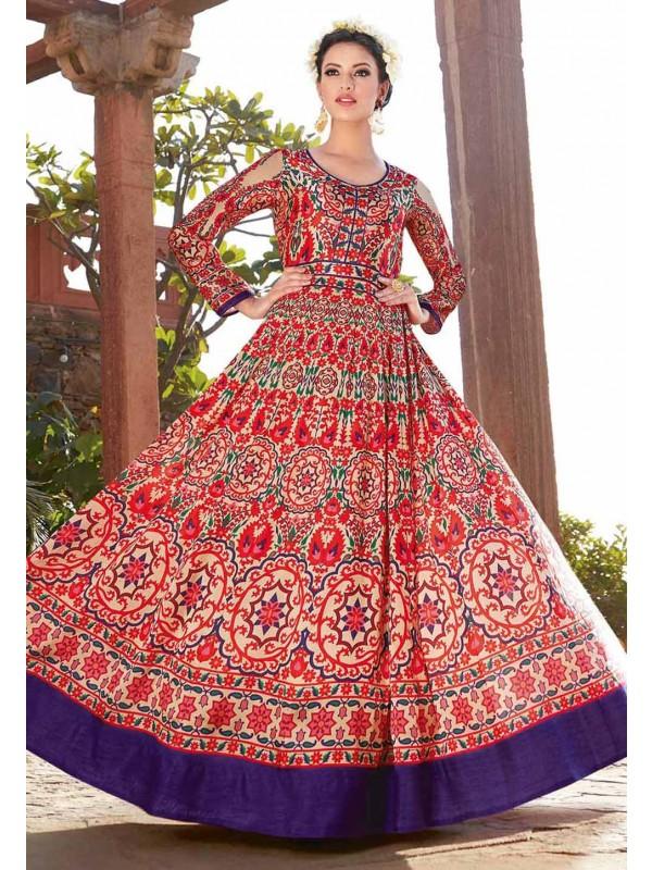 Red Color & Satin Fabric Anarkali Style Incredible Unstitched Salwar Kameez