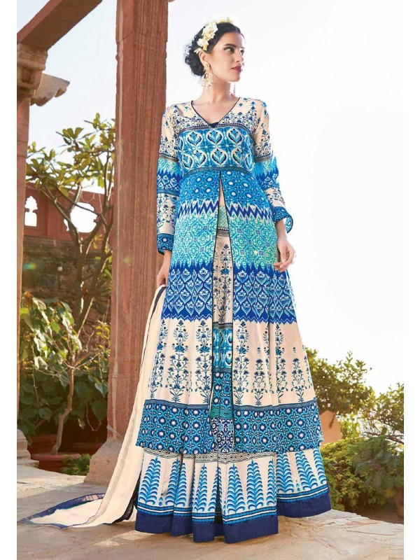 Blue Color with Printed Work Incredible Unstitched Salwar Kameez
