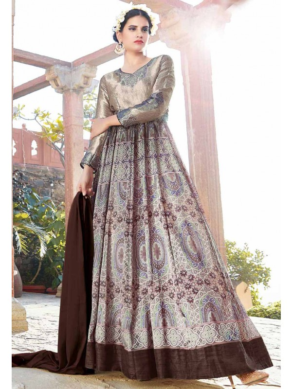 Anarkali Style Brown Color with Printed Work Incredible Unstitched Salwar Kameez
