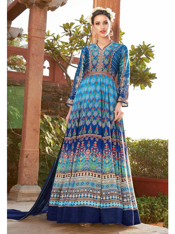 Anarkali Style Multi Color with Printed Work Incredible Unstitched Salwar Kameez