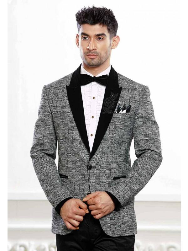Grey Linen Tuxedo Suit.