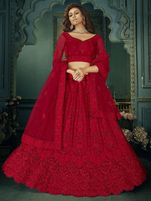 Red Colour Net Designer Wedding Lehenga Choli.