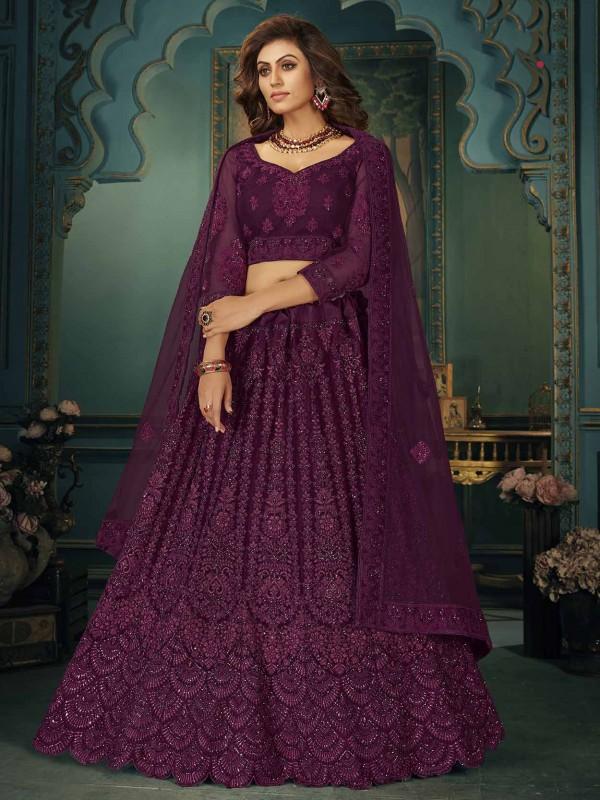 Wine Colour Bridesmaid Lehenga Choli in Net Fabric.