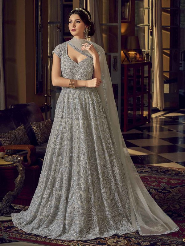 Grey Colour Net Anarkali Salwar Kameez.