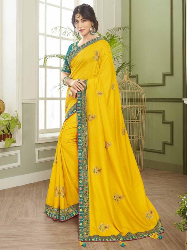 Yellow Colour Fancy Fabric Designer Bridal Saree.