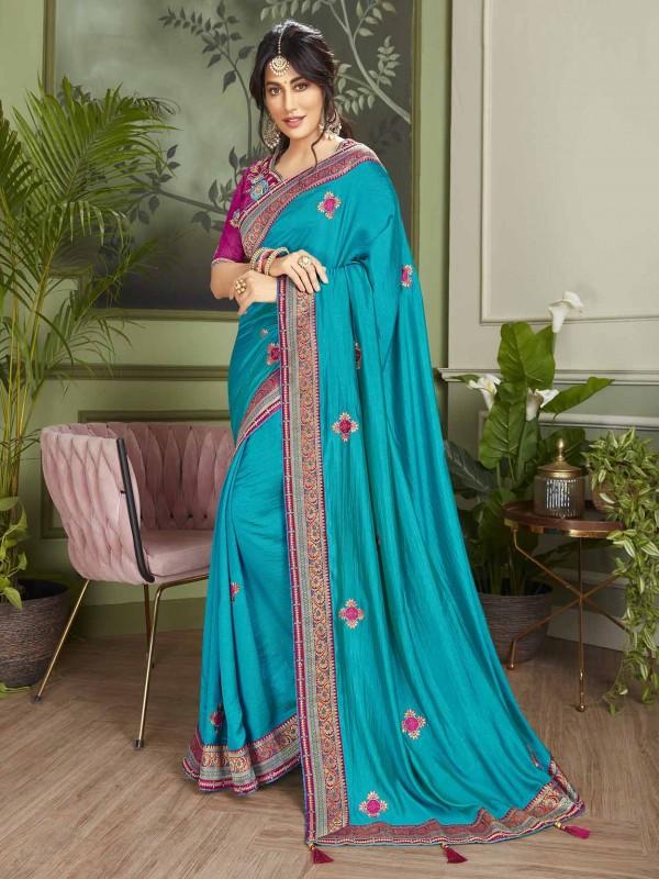 Blue Colour Fancy Saree.