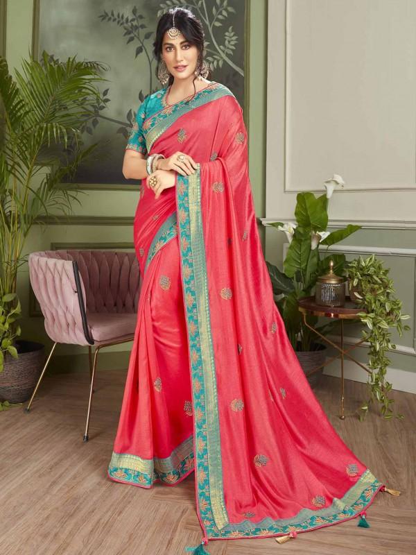 Red Colour Designer Fancy Saree.