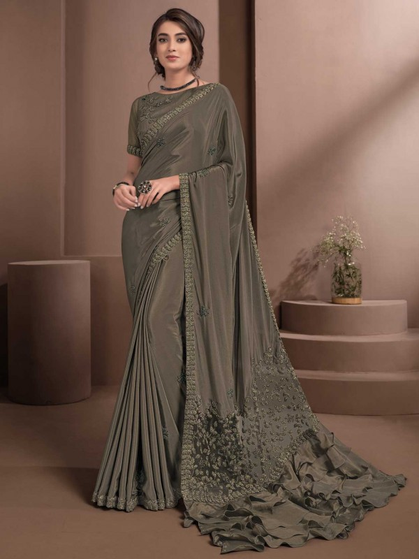 Brown Colour Crepe Fabric Party Wear Saree.