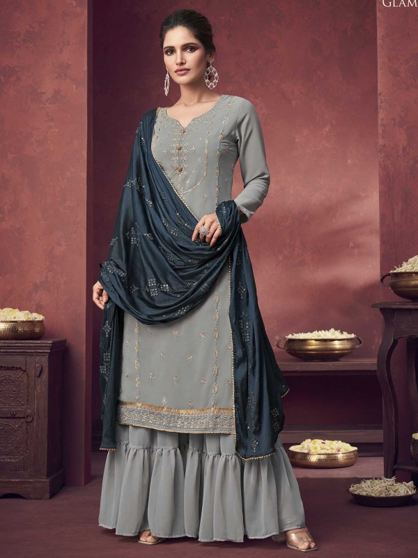 Georgette Fabric Salwar Kameez Grey Colour.