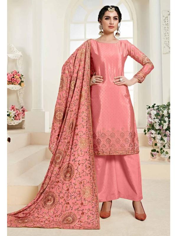 Designer Pink Colour Chinon Fabric Salwar Kameez.