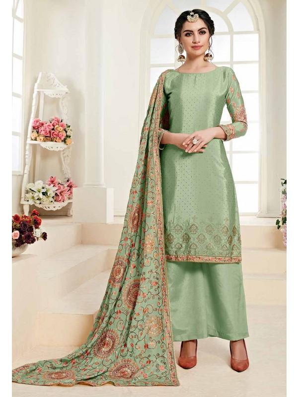 Green Colour Designer Palazzo Salwar Suit.
