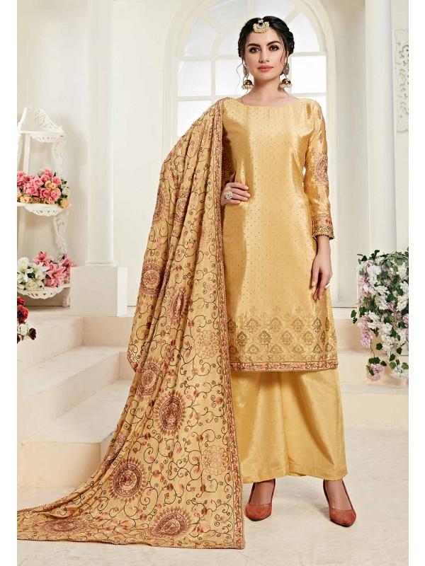 Yellow Colour Party Wear Salwar Suit.