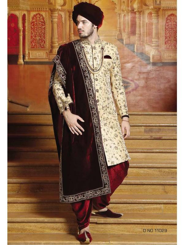 Golden Color Indian Wedding Sherwani.
