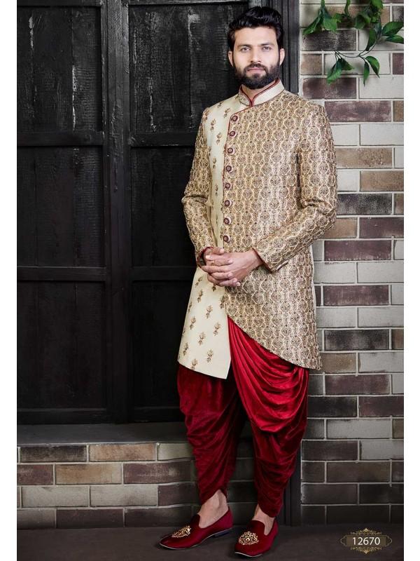 Cream,Golden Colour Sherwani For Men Wedding