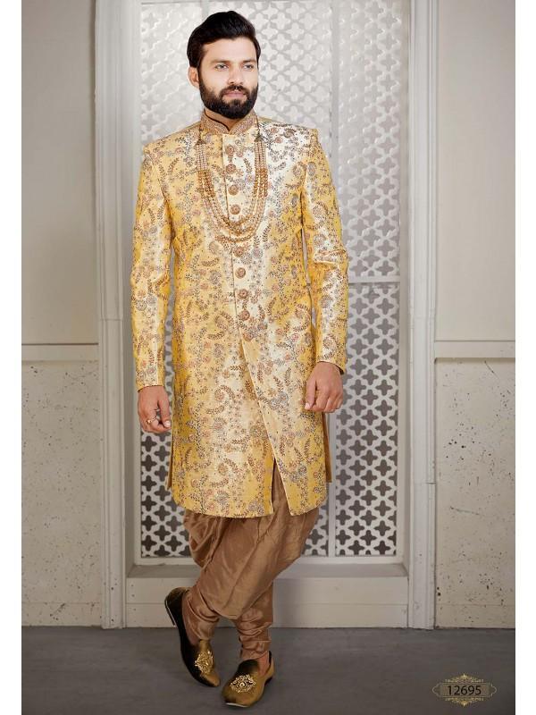 Yellow Colour Silk Designer Sherwani.