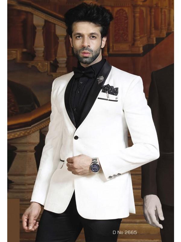 White Color Designer Tuxedo Suit.