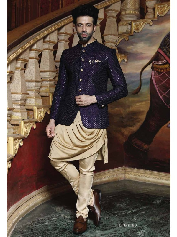 Blue Color Printed Jodhpuri Suit.