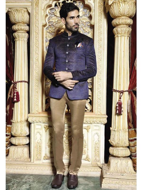 Blue Color Men's Jodhpuri Suit.