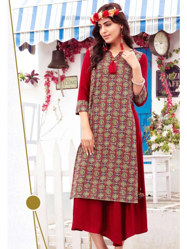Red Color Stylish Designer Kurti