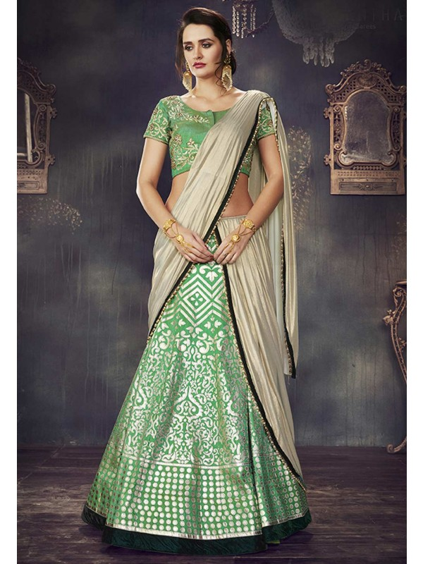 Sea Green Color & Jacquard,Silk Unstitched Lehenga Choli