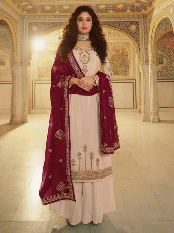 Indian Designer Salwar Suit Cream Colour in Georgette Fabric.