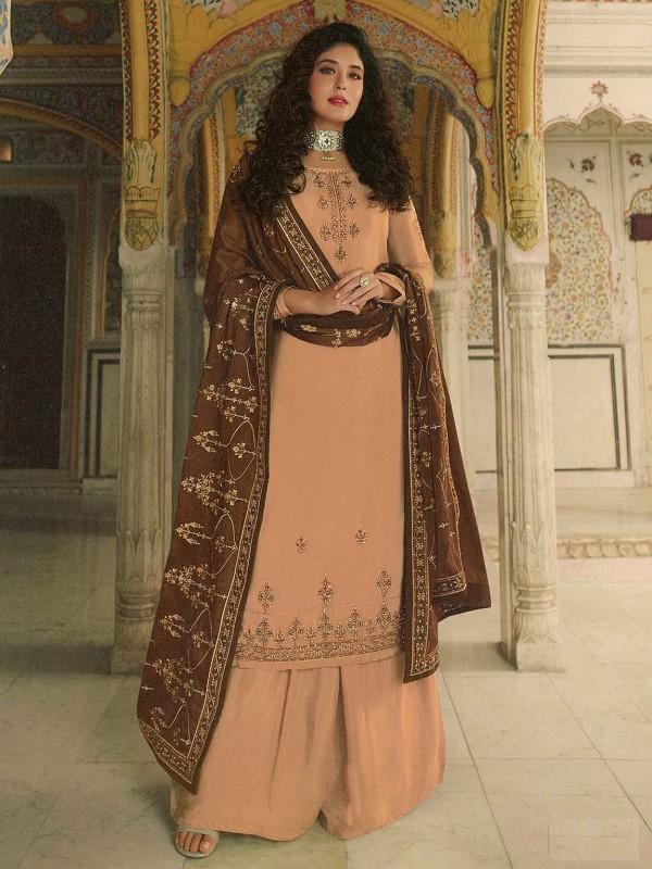 Golden Colour Georgette Sharara Salwar Kameez.