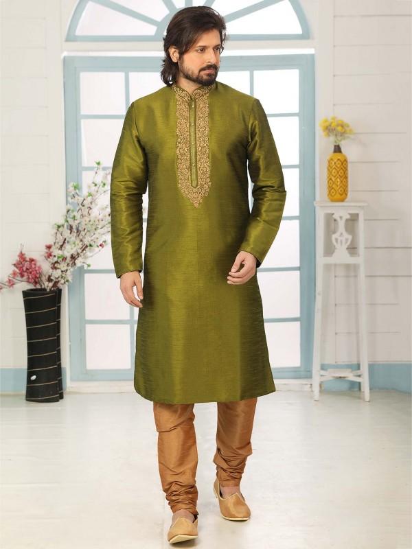 Green Colour Banarasi Silk Men's Kurta Pajama.