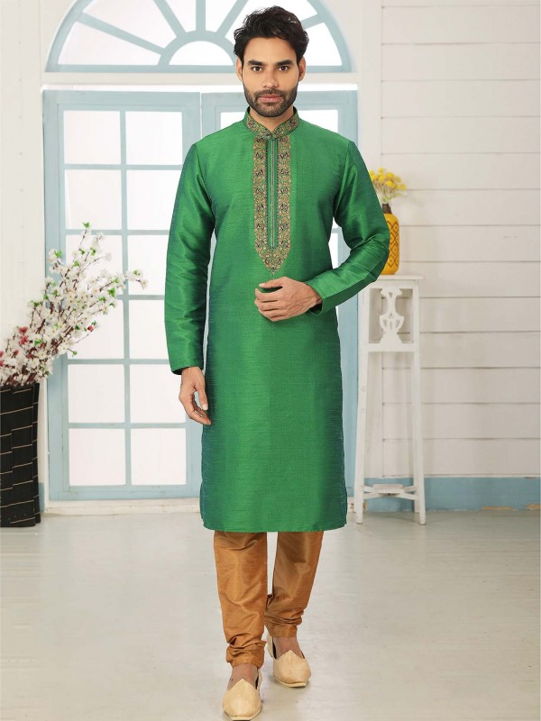 Banarasi Silk Men's Kurta Pajama in Green Colour.