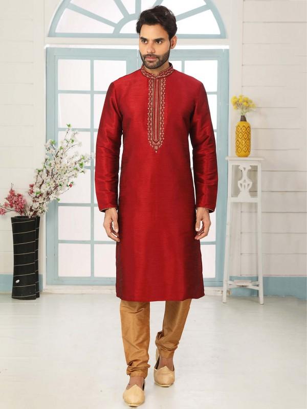 Maroon Colour Banarasi Silk Indian Designer Kurta Pajama.