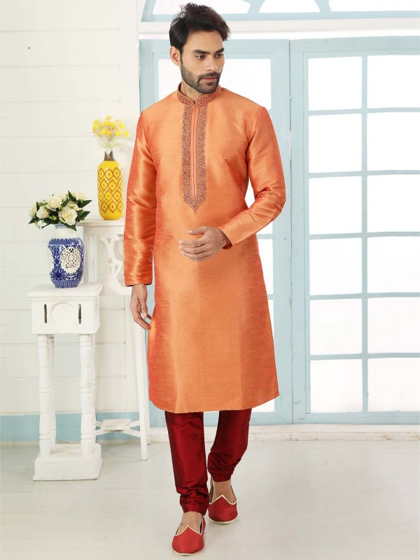 Traditional Kurta Pajama Orange Colour in Banarasi Silk Fabric.
