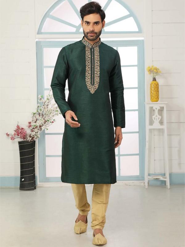 Dark Green Colour Banarasi Silk Kurta Pajama.