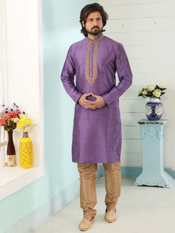 Purple Colour Banarasi Silk Men's Kurta Pajama.