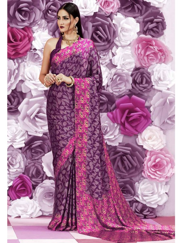 Purple Color Party Wear Saree