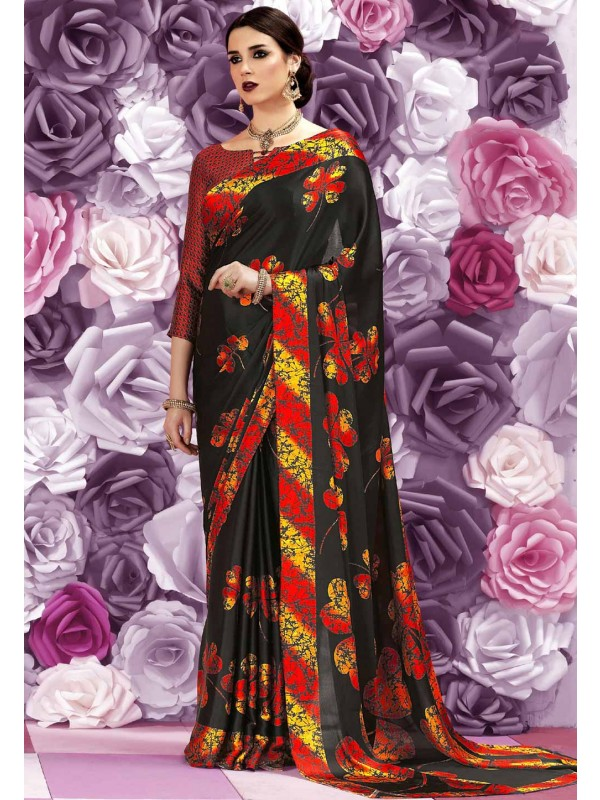 Classic Looking Black Color Women's Ethnic Saree