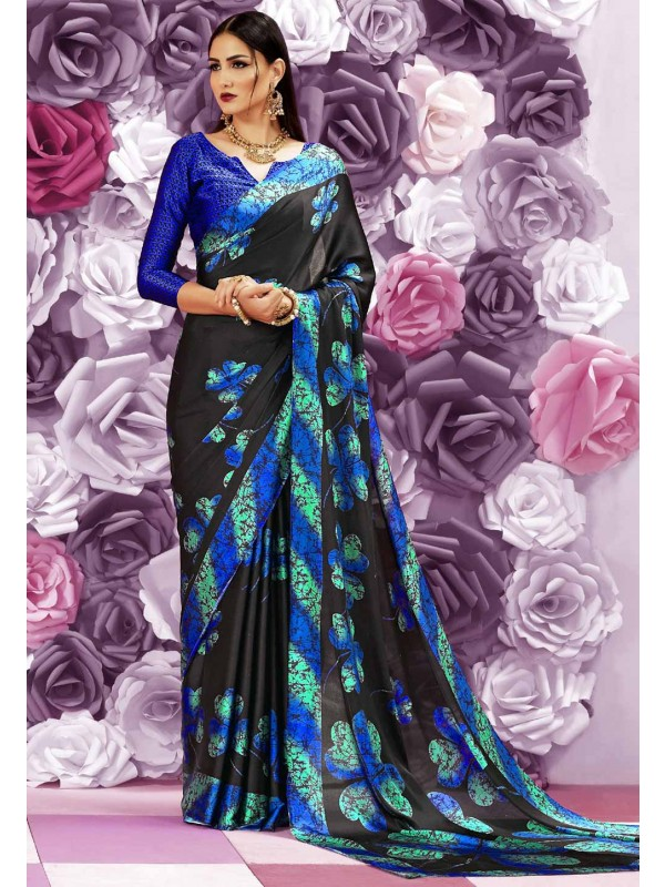 Wonderful Plain Pallu Saree in Radish Black Color