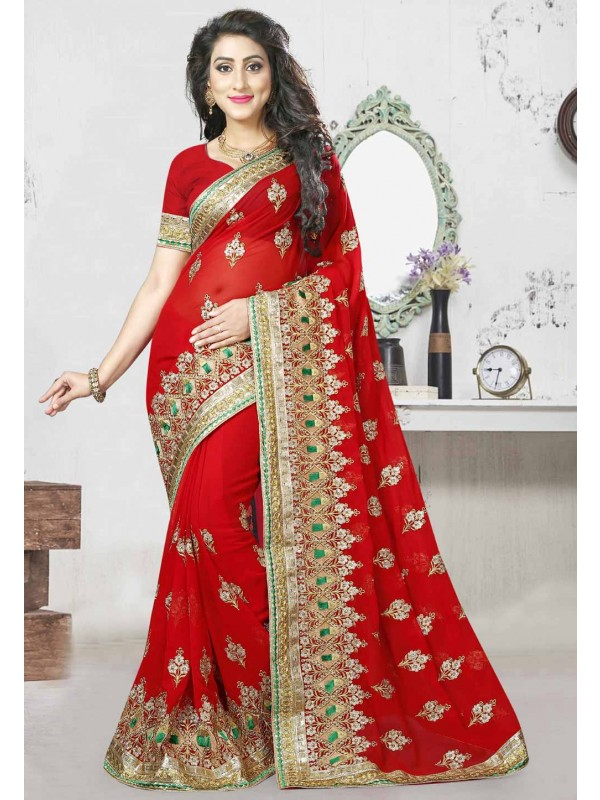 Beautiful Red Color Traditional Sarees