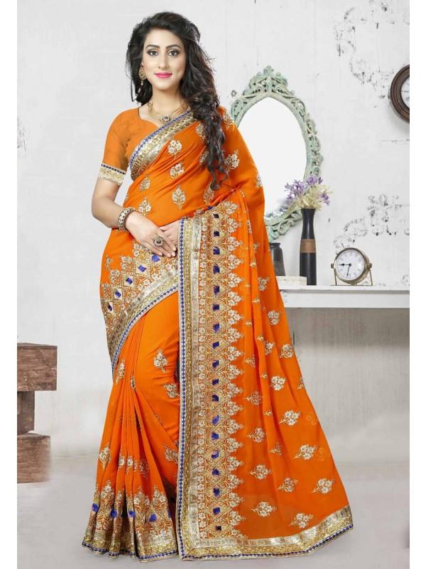 Traditional Look Orange Color Designer Saree