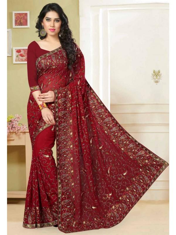 Maroon Color Designer Bridal Saree