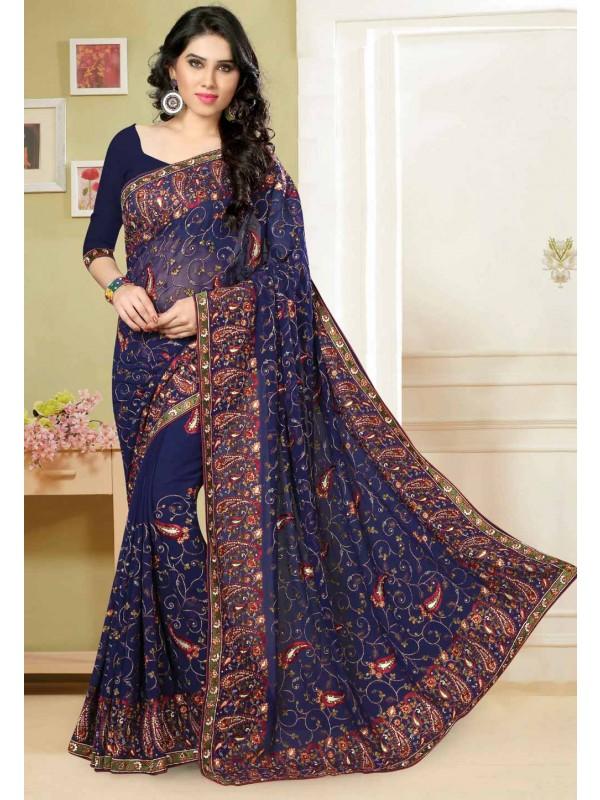 Attractive Navy Blue Color Saree