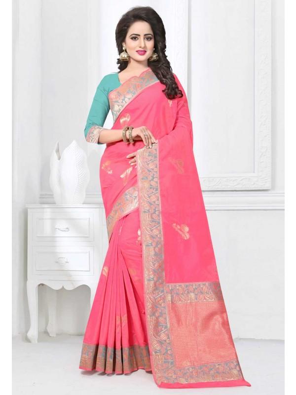 Pink Color Saree With Nice-looking Plain Pallu