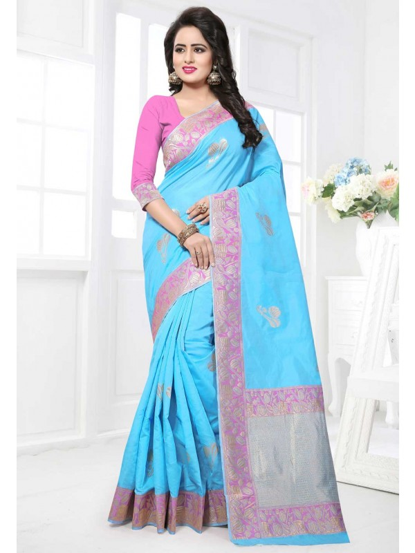 Turquoise Color Saree With Attractive Plain Pallu
