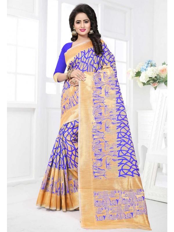 Blue,Beige Color Saree With Nice-looking Plain Pallu