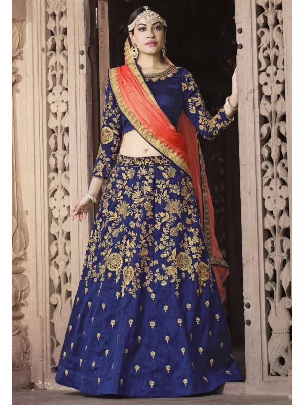 Indian Designer Lehenga Choli Royal Blue Color