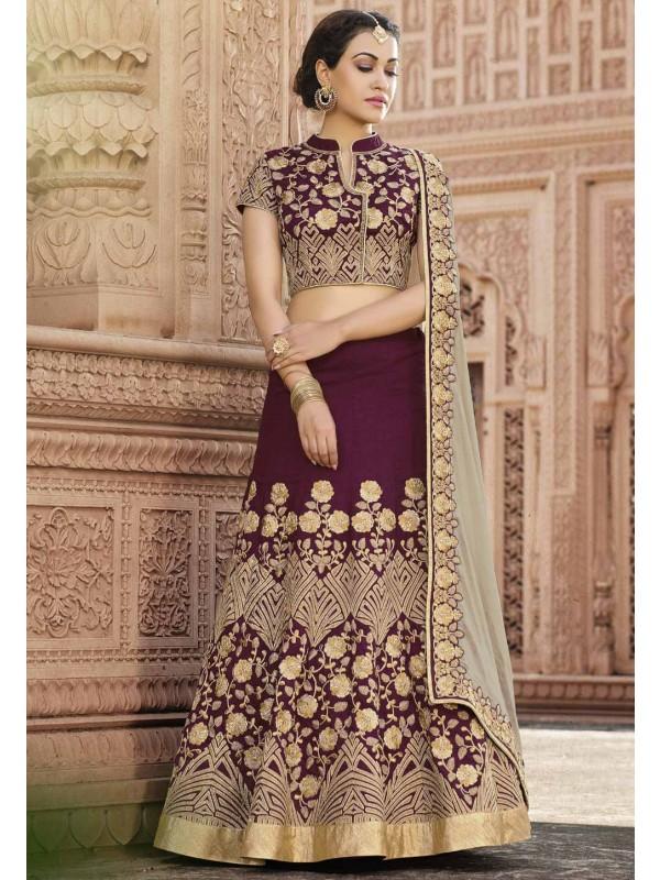Nice Looking Purple Color Unstitched Lehenga Choli