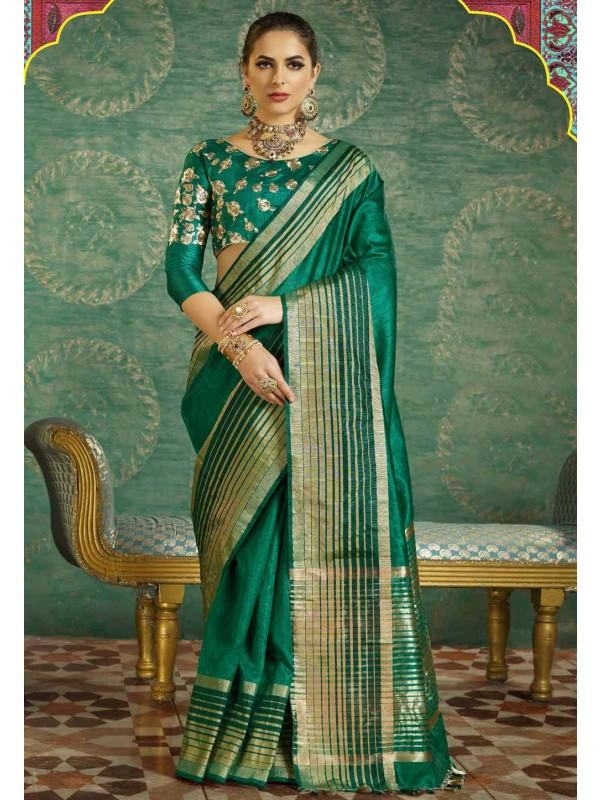 Traditional Look Green Color Silk Saree