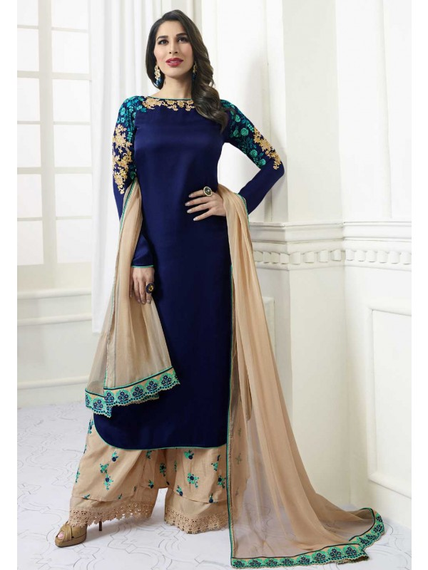 Blue Color Satin Fabric Party Wear Salwar Kameez